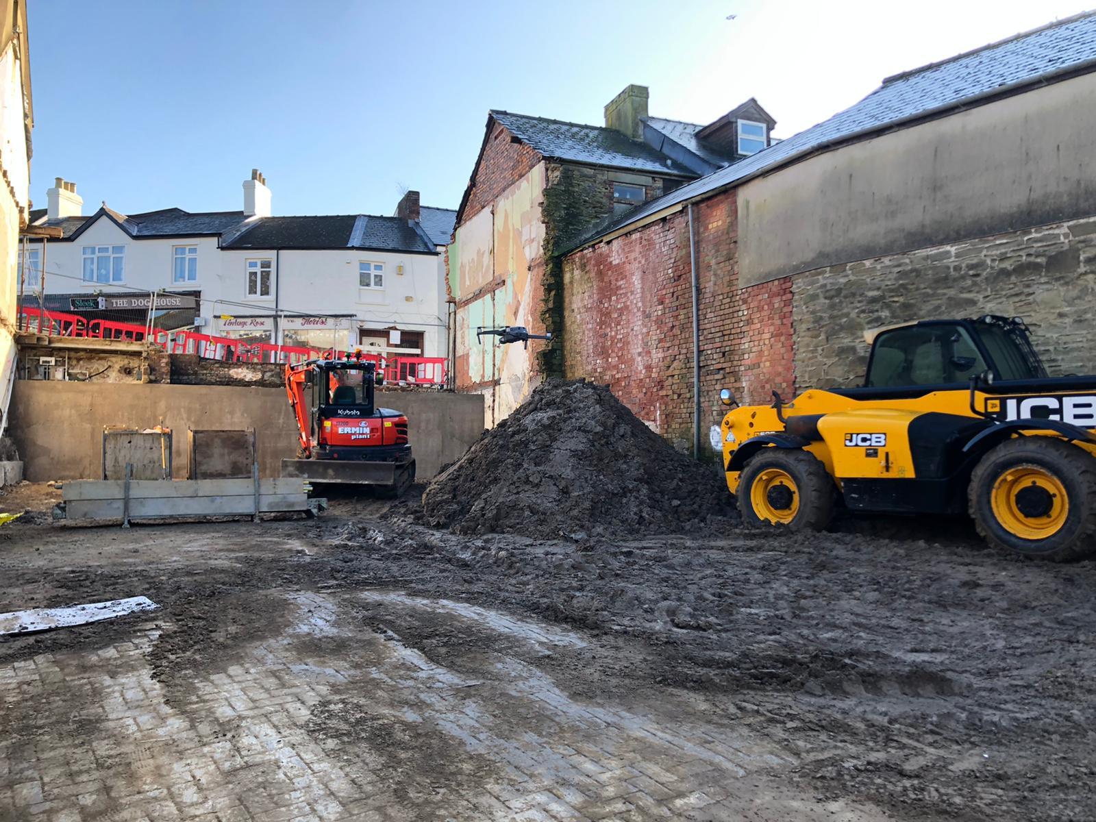 Site under construction at Market Street Cinderford