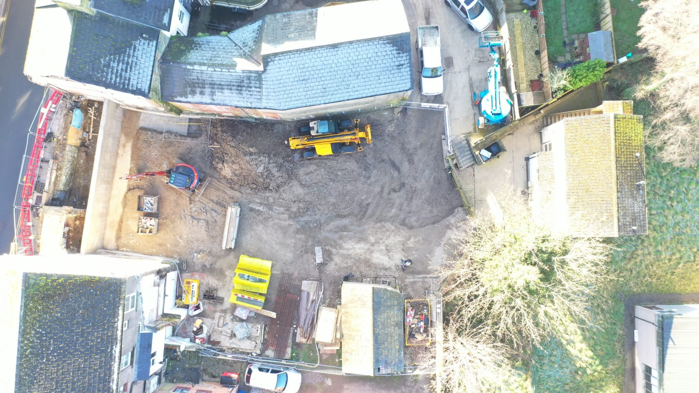 Aerial view of a construction site at Market Street Cinderford