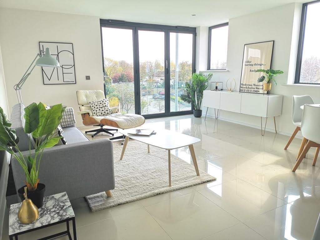 ONE62 living room, a residential development comprising six spacious apartments in Hythe.